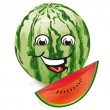 Stock Vector: Smiling watermelon