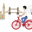 London on a bicycle — 图库矢量图片