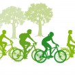 Cycling in the green — 图库矢量图片