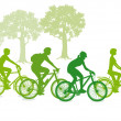 Cycling in the green — Stock Vector