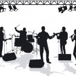 Stock Vector: Band on stage