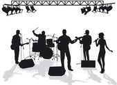Band on stage — Stock Vector