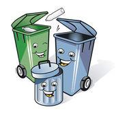 Three funny trash can — Stock Vector