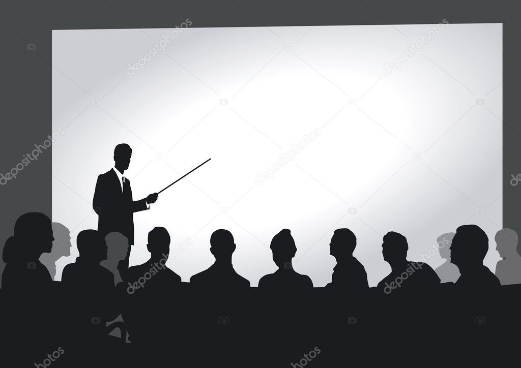 Presentation in the auditorium — Stock Vector #11761991