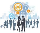 Company in development and movement — Stock Vector