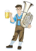 Bavarian Musician with Tuba and beer mugs — Stock Vector
