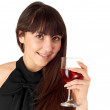 Lovely girl holding a glass of wine — Stock Photo