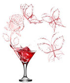 Red rose splash from martini — Stock Photo
