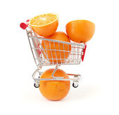 Shopping trolley with fruits — Stock Photo