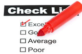 Tick placed in excellent checkbox — Stock Photo