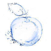 Apple made out of water splashes isolated on white — Stock Photo