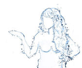 Water shaped girl created from water splash isolated in white — Stock Photo