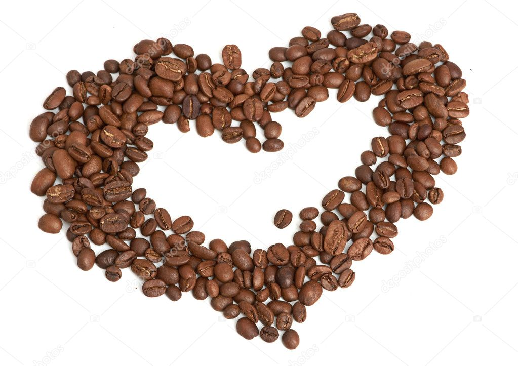 Coffee beans heart on a white background — Stock Photo #10922135