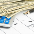Pen,calculator and dollars on chart closeup. Business concept — Stock Photo #11030162