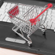 Online shopping. trolley on laptop isolated on white — Stock Photo #11062503
