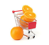 Shopping trolley with fruits isolated onb a white background — Stock Photo
