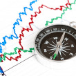 Compass on the table and graph on a sheet of paper — Stock Photo