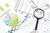 Förstoringsglas på grafen företag sök bakgrund — Stockfoto