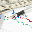 Pen,calculator and dollars on chart closeup — Stock Photo #11992997
