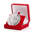 Silver medal in red gift box. — Stock Photo #11993196