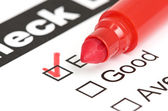 Tick placed in excellent checkbox on customer — Stock Photo