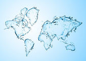 World map from water splashes — Stock Photo