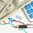 Pen,calculator and dollars on chart closeup — Stock Photo #12412986