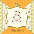 Stock Photo: New baby announcement card with cow