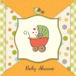 Stock Photo: Delicate baby shower card with pram