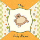 Teddy ile bebek duş kartı — Stok fotoğraf