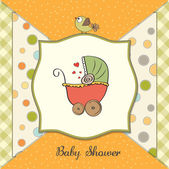 Delicate baby shower card with pram — Stock Photo