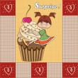 Birthday card with funny girl perched on cupcake — Zdjęcie stockowe