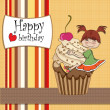 Birthday card with funny girl perched on cupcake — Stock Photo #10787192