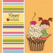 Birthday card with funny girl perched on cupcake — Stock Photo