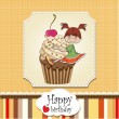 Birthday card with funny girl perched on cupcake — Foto Stock