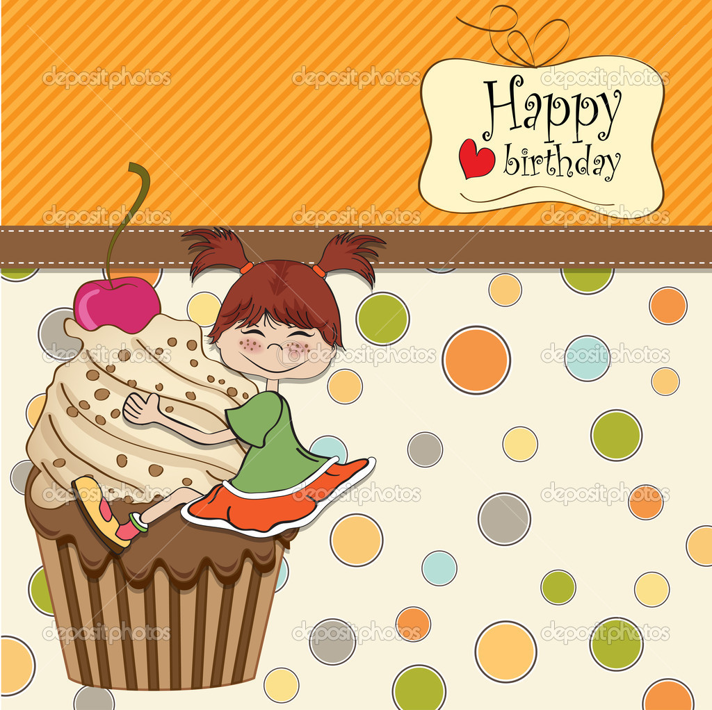 birthday card with funny girl perched on cupcake  stock photo, Birthday card