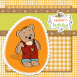 Stock Photo: Birthday greeting card with teddy bear