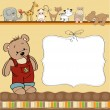 Stock Photo: Customizable childish card with funny teddy bear