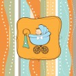 Baby boy announcement card with baby and pram - Stock Photo