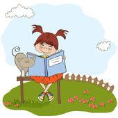 Młoda dziewczyna słodkie czytanie książki — Zdjęcie stockowe