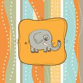 幼稚贺卡与大象 — 图库照片