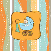 Baby boy announcement card with baby and pram — Stock Photo