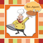 Funny cartoon chef with tray of food in hand — Stock Photo