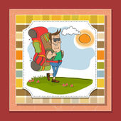 Tourist man traveling with backpack — Stock Photo