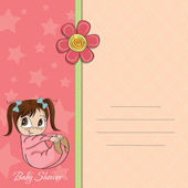 New baby girl announcement card with little girl — Stock Photo