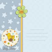 Baby boy shower card with duck toy — Stock Photo