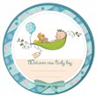 Little boy sleeping in a pea been, baby announcement card — Stock Photo