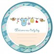 Stock Photo: Baby boy shower card