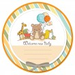 Baby shower card with toys — 图库照片