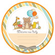 Baby shower card with toys — Stok fotoğraf